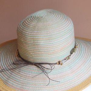 Sun N Sand Accessories - Sun N Sand Multi Color Beaded Bow Floppy Beach Hat 666cdaff3fe0
